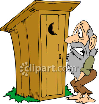 A Hillbilly Waiting Outside an Outhouse