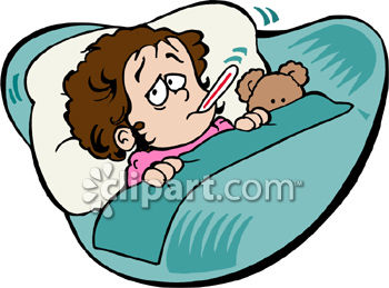 A Sick Child In Bed With a Thermometer in Her Mouth and Her Teddy