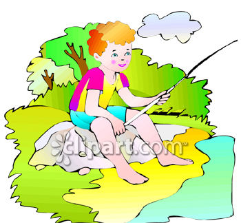 Boy Fishing From the River Bank