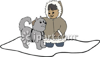 Eskimo Girl Petting a Dog