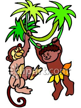 Little Brown Skinned Boy Hanging From a Tree with a Monkey