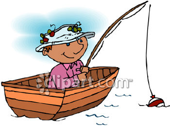 Guy On A Holiday Fishing From A Boat Royalty Free Clip Art Illustration