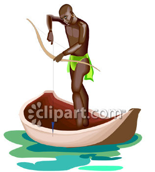 African Native Man Fishing with a Bow From a Canoe