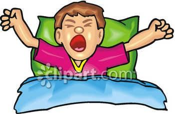 Clip Art of a Man in Bed Just Waking Up, Streching and Yawning