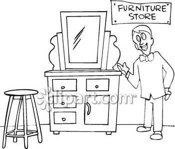 Clip Art Image of a Furniture Store Salesman Royalty Free Clipart