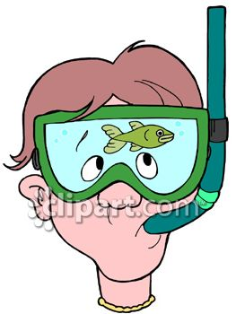 Clipart of Man Snorkeling