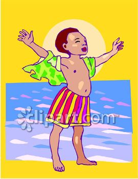 Young Black Boy Enjoying The Wind At Beach