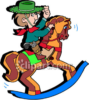 little boy playing cowboy on a wooden rocking horse royalty free rh clipartguide com cowboy clip art free printable cowboy clip art free images