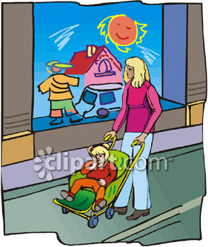 Woman Pushing a Stroller Clip Art