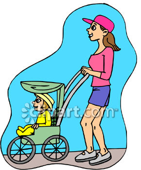 Mother Pushing  a Strolle ror Baby Carriage Clip Art