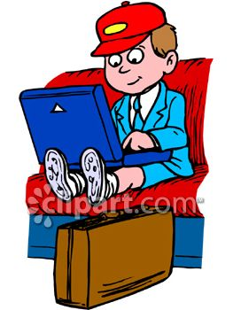 Clipart Picture of a Little Boy Using a Lap Top Computer on a Train