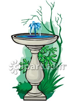 royalty free clip art image bird bath with a bubbling fountain in rh clipartguide com drinking fountain clipart free animated water fountain clipart