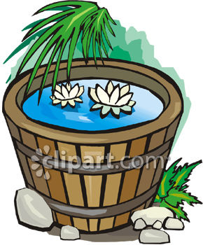 Wine Barrel With Waterlilies Growing Inside
