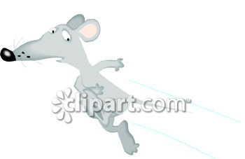 Cartoon of a Scared Mouse Running Fast