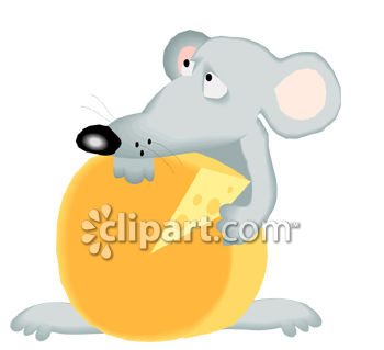 Cartoon of a Cautious Mouse Guarding His Cheese