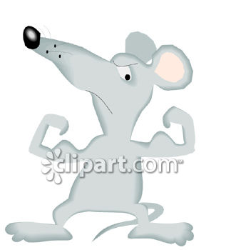 Cartoon of a Mouse Flexing His Muscles