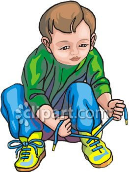 Child Tying Shoes Clip Art - Royalty Free Clipart Illustration