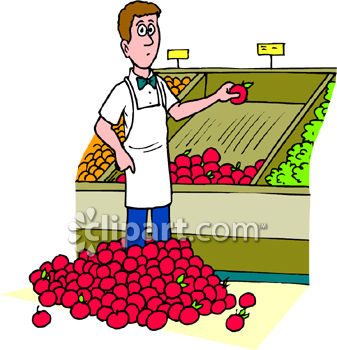 Boy in a Grocery Produce Section with a Pile of Apples at His Feet
