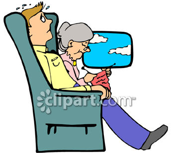 Scared Man On a Plane Next to a Calm Granny