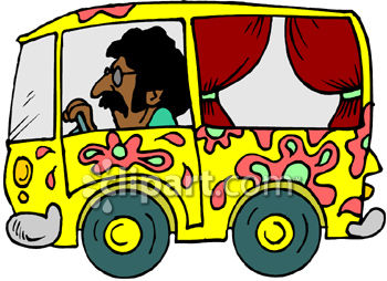 Man Driving a Hippie Bus with Curtains and Psychedelic Paint Job