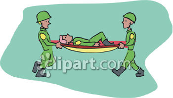 Two Army Soldiers Carrying a Wounded Soldier on a Stretcher