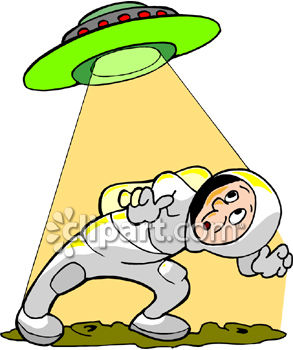 Astronaut Being Watched by a UFO Royalty Free Clipart Image