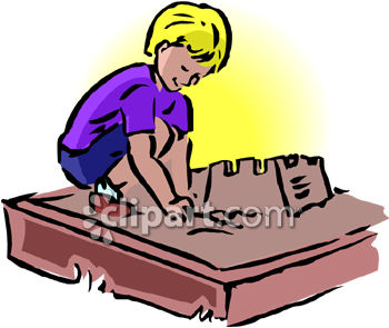 Child Playing in a Sandbox Clip Art