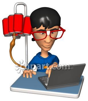 3D Nerdy Kid Typing on a Laptop with a Soda Pop IV