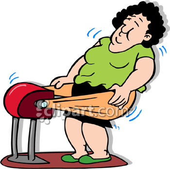 Woman Using an Old Fashioned Fat Jiggler Fitness Device