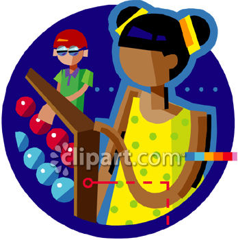 "This ""children using an abacus to count clip art"" clipart image is"