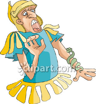 Scared Gladiator Screaming at the Sight of a Snake on His Arm Royalty Free Clipart Image