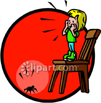 Scared Little Girl Standing on a Chair to Get Away from a Spider