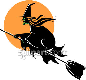 Witch Flying on Her Broom-Black and Orange
