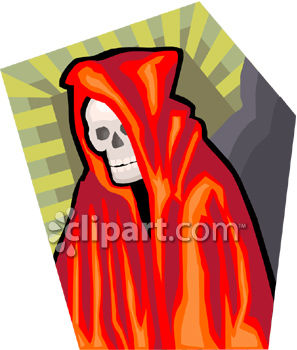 Grim Reaper Wearing a Red Cape
