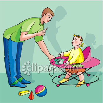 Dad Speaking to a Child in a Walker