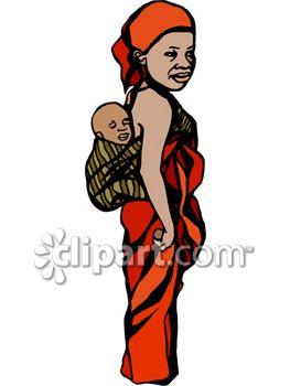 African Mother with her Child on Her Back in a Kanga (Baby Sling)