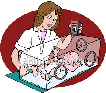 Nurse Checking on a Baby in an Incubator