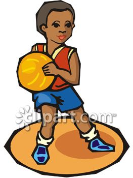 African American Boy Playing Basketball