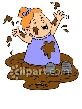 Messy Child Playing in Mud Clip Art
