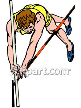 Guy Pole Vaulting in a Track Meet Competition