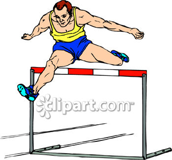Young Man Jumping a Hurdle