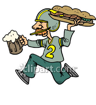 Man Hurrying To Watch the Game with a Beer and a Sub