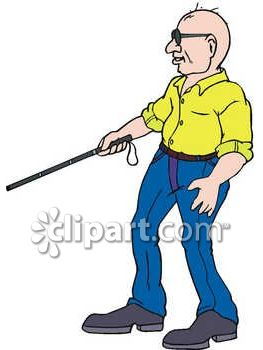 Blind Man Using a Cane Clip Art
