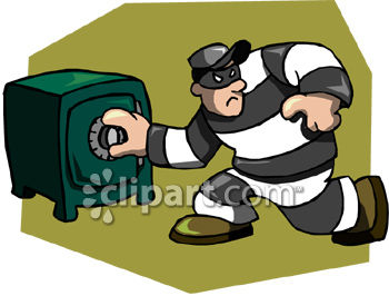 Thief or Crook Cracking a Safe Clip Art