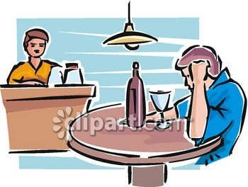 Royalty Free Clip Art Image: Sad Man Drinking Alone in a Bar Clipart