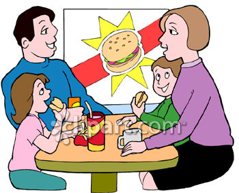 Family Playing Together Clipart Family Eating Burgers in a