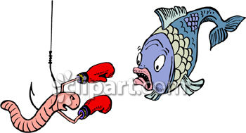 Fish Scared of Worm Royalty Free Clipart Image