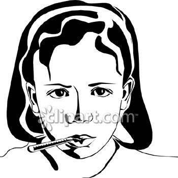 Vintage Image of a Girl with a Cold Clip Art
