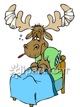 Moose Sick in Bed Clipart