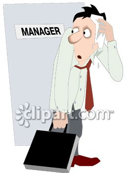 Sweating Businessman Leaving the Manager's Office Clipart
